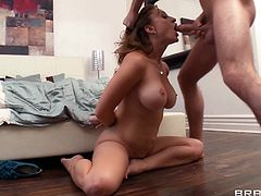 Press play on this hardcore scene where the busty mommy Mya Mayes sucks on this guy's big cock before being fucked as she ends up with a mouthful of semen.