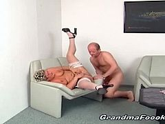 Watch these nympho grannies getting down and dirty with their partners trying out different positions and face fucking huge dicks begging for huge amount of load in their mouth.