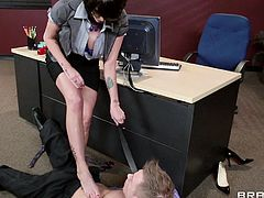 Take a look at this hardcore scene and watch Alana Evans riding one of her employee's big fat cocks in her office until he cums all over her face.