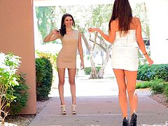 Kelsey and Hazel walk in the street showing their sexy legs. These babes also kiss and then play with each others pussies sitting on the stairs.