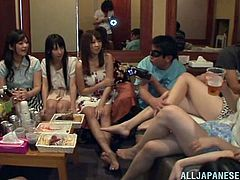 Cute Japanese babes have a good time at the party. They drink and then take off their clothes. The girl suck dicks and of course get fucked in their wet pussies.