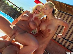 Phoenix Marie and Sadie Swede are having fun with Johnny Sins on the poolside. They give a blowjob to the guy and let him pound their cunts and assholes.