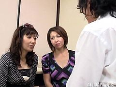 Horny Japanese moms are having fun with a dude indoors. They let the stud play with their vaginas and then suck and ride his weiner by turns.