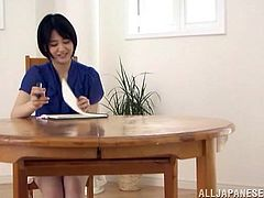 A Japanese girl draws a dick. After that she starts to touch those balls and a tiny dick in a CFNM video.