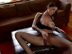 Horny and sexy dark haired babe with nice ass and in fishnet stockings. Have a look at this whore in My XXX Pass sex video.