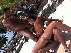 Mind blowing MMF threesome on the beach with curvy Kathia Nobili