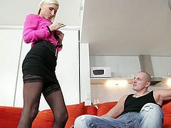 Small tittied but delicious blonde Vanessa knows for sure how to seduce young dude. She digs her fingers in his pants and start to play with his big dick.