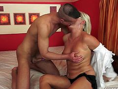 Take a look at this hardcore scene where this mature blonde ends up with a warm creampie after being nailed by a stud's thick cock.