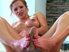 Horny redhead milf Katja Kassin is having fun with lewd masseur Ramon. Ramon oils and rubs Katja's body adn then fucks her coochie and asshole as hard as he can.