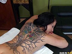 Casey Cumz is totally naked on massage table and gets the pleasure she wont soon forget. She gets her small perky tits and hairy pussy rubbed by curious guy. He cant keep his hands off her gorgeous body.