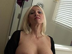 Those big boobs shaking while nasty milf is stroking her butt holes look quite appealing and hot