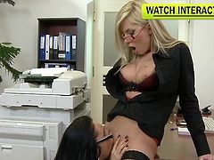 Things are quite steamy between hot office girls in need to stimulate eachother's wet pussy with a stiff toy