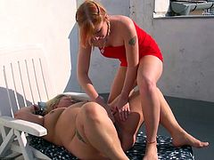 This mature nanny is lying out on the deck soaking up some sun when her much younger lesbian lover comes out and sees if they can get dirty together. The young babe plays with the old nanny's cunt and then the nanny does the same. The grandma shows off her pussy eating skills.