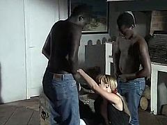 Watch this slutty and whorish babe getting pleased by her two black friends who loved her tight pussy in The Classic Porn sex clips.