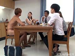 Lovely Japanese in the kitchen visited by a nude dude who arouses a porn star in miniskirt who lets him lick her pussy in public showing her hot ass
