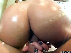 Ann Marie Rios with juicy booty is horny as hell and gives handjob with wild passion