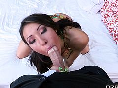 Horny Asian tramp Jayden Lee shows her blowjob skills to Bruce Venture. Then she lets him drill her shaved cunt in the missionary position and it makes her squirt.