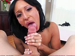 Buxom brunette whore Faustine Lee gives hot blowjob to her lover