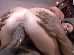 Pretty brown-haired chick Katie Angel kneels in front of a dude and sucks his BBC. Then she takes the mighty rod in her shaved pussy and can't help but moan loudly while riding the shaft.