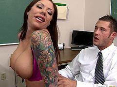 Horny dark haired tattooed busty babe with nice ass squats down and sucks the dick. Have a look at this whore in Brazzers Network sex video.