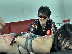 Megumi Haruka is ready to show her big tits and she enjoys it to be in the middle of a hardcore bdsm action. She is all tied up and screams like a little slut.