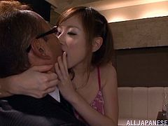 Slutty Japanese milf Erika Kitagawa gives a handjob to a horny man. Then she takes his schlong in her snatch and enjoys banging in the missionary and the cowgirl positions.