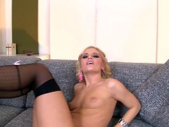 Light haired bodacious hooker in sexy black stockings got her pinkish pussy attacked in missionary and doggy positions by staff penis of that macho. Look at that steamy copulation in DDF Network porn video!