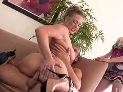 Suddenly the lusty wifey of that dude came home earlier. She caught her BF buttonfucking her blond busty pal. She watched them passionately and eagered to get the third one in this fuck. Just look at this nice FFM fuck in Fame Digital porn clip!