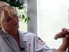 Slim blonde Katie Morgan wearing a nurse uniform is getting naughty with one of the patients. She favours the man with a blowjob and then they fuck doggy style and in ohter positions.