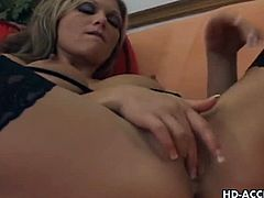 On her sofa, Anna Nova masturbates and rubbing her shaved pussy. But she want something big so he called her black guy friend to visit her for some hot pounding action