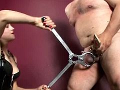 CBT And Ballbusting brings you a hell of a free porn video where you can see how this naughty brunette mistress tortures her slave's cock while assuming hot poses.