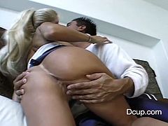 A lustful blonde MILF gets her boobs licked and pussy fingered. This lustful woman lies down on a sofa and gets fucked hard. Kristina also gets her face cum covered.