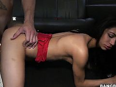 Ultra sexy chica seductress Veronica Rodriguez gets her bare hands attacked by guys hard sausage