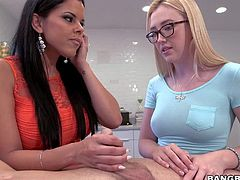 Diamond Kitty is a well experienced woman who is good at giving handjob. Tender four-eyed teen blonde is her virgin step-daughter with no cock sucking experience. She takes dudes hard dick in her mouth for the first time under moms control.