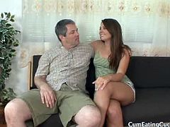 Cum Eating Cuckolds brings you a hell of a free porn video where you can see how the horny brunette Cali Hayes gets banged in front of her man while assuming very sexy poses.