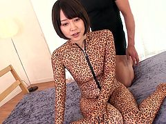 Are you a fan of Japanese hot ladies? Let your fantasy flourish. The babe in this video is wearing a kinky one piece costume with leopard print. The bitch looks simply ravishing while posing in sexy positions on the floor. The camera catches closeups of her juicy pussy being fingered. Click!