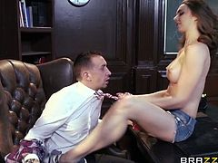 Tiffany Tyler is sick and tired of her pervy teacher. She decided to satisfy his desires and makes him to stick his cock deep inside her pussy like a real champ.