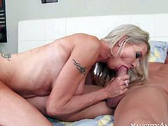 Emma Starr is a stunning blond milf with hard athletic body and perfect huge fake tits. She gets her wet tight pussy banged deep and hard by her sons buddy in the shower and then again in the bedroom.
