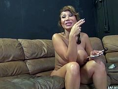 Ava Devine is one of a kind! Mommy can brag off huge round juggs and gorgeous app bottom. Curvy slut pets her meaty cunt with lollipop and huge high powered vibrator.