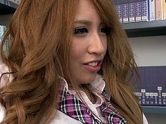Curios to find out what slutty Japanese schoolgirls actually do when they say they must prepare homework? Watch the video to enjoy a break from the boring routine. A blonde dyed teen hides in the library for a quick date. She has no panties under the tiny skirt. See her spreading her legs provocatively...