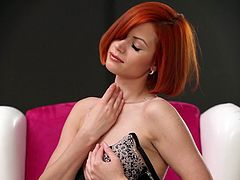 Kami is a gorgeous redhead babe wearing sensual lingerie. Watch this babe taking everything off ass you fall for her physique.