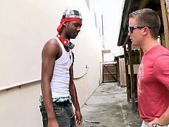 Witness this reality video where an ebony boy, with a nice ass wearing headphones, goes hardcore with a white dude outdoors in public.