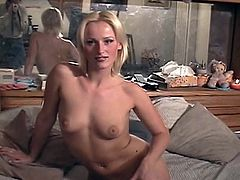 Perky boobed blonde chick gets banged by ugly fat guy for money