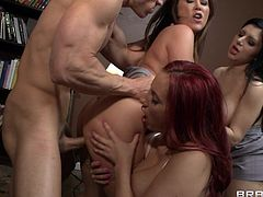 Busty cuties Kelly Divine, Kianna Dior and Sativa Rose are gonna drive Johnny Sins crazy. They please the guy with a blowjob and ride his schlong by turns.