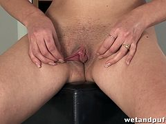 A brunette girl takes off clothes and plays with her pussy. She also drills her vagina with a dildo in different positions.