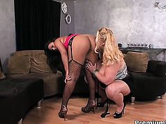 Annika Adams with giant melons gets her slit used by Samantha