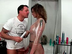 Busty milf Klarisa Leone, fucked her in her pussy. Watch how she sucks this big cock, gets tortured while she is deepthroated and pussy fisted. Enjoy this babe getting rough fucked by this big dick.