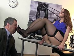 Beauty in black stockings keeps open for horny boss during wild and nasty hardcore fuck at the office