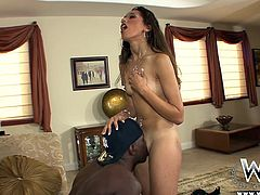 Take a look at this sexy young brunette babe. She gets on her knees to suck on giant black penis. it's not enough for her to suck on big black dick. She needs to bounce her skinny body up and down on big black cock as well.