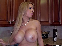 Alyssa Lynn is his beautiful 33-year old step-mom with fascinating huge fake tits. She loves cleaning the house totally naked and he loves spying on her! Her massive melons, bubble butt and pink bald pussy turn him on.